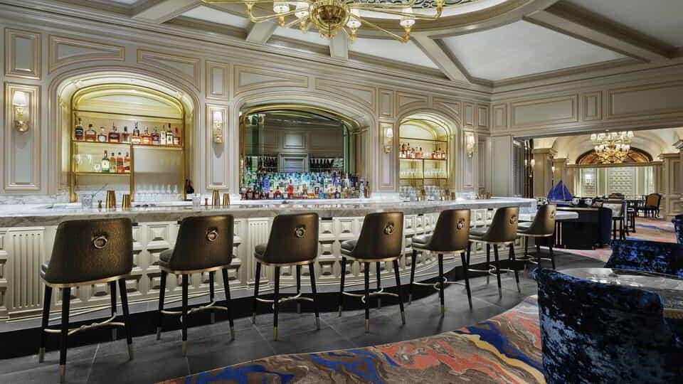 The bar view at Petrossian Lounge.