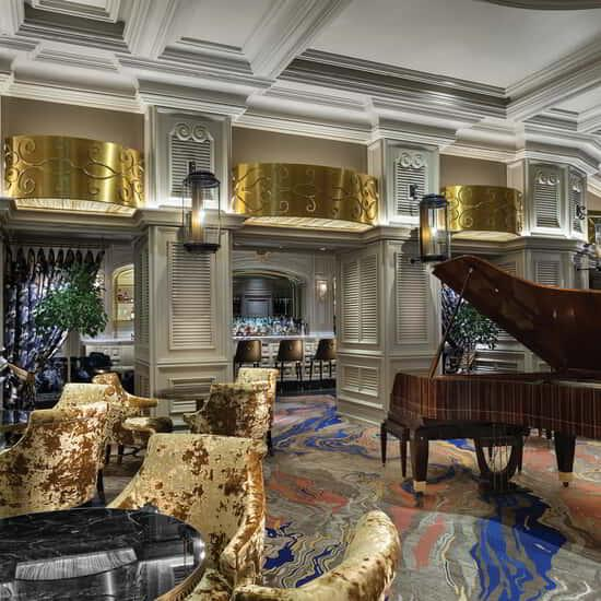 The grand piano at Petrossian Lounge.