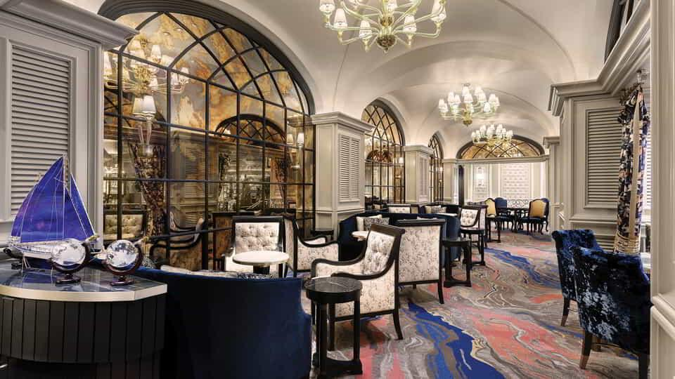 Interior view of Petrossian Lounge.