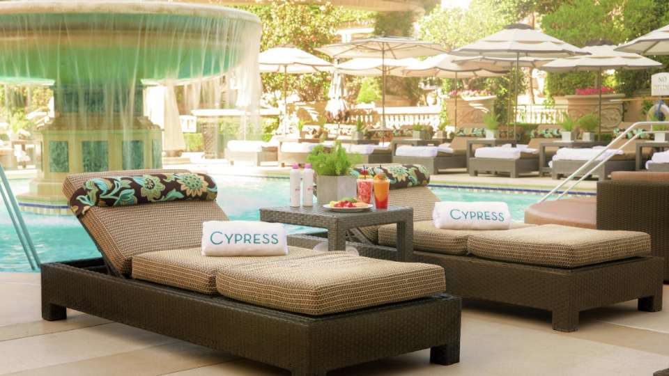 Private seating available in our Cypress Pool.