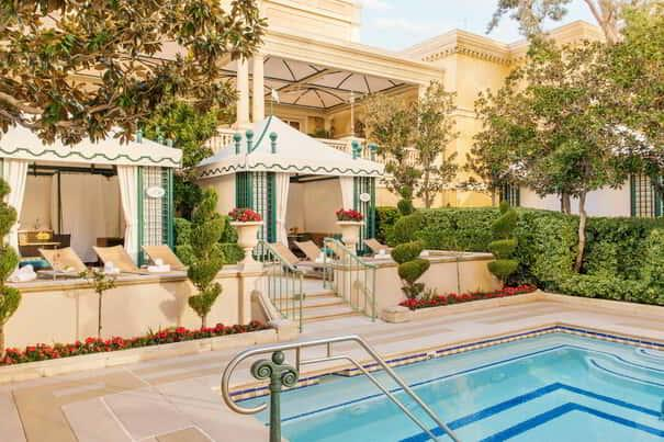 Cabanas that are poolside at the Bellagio pool complex.