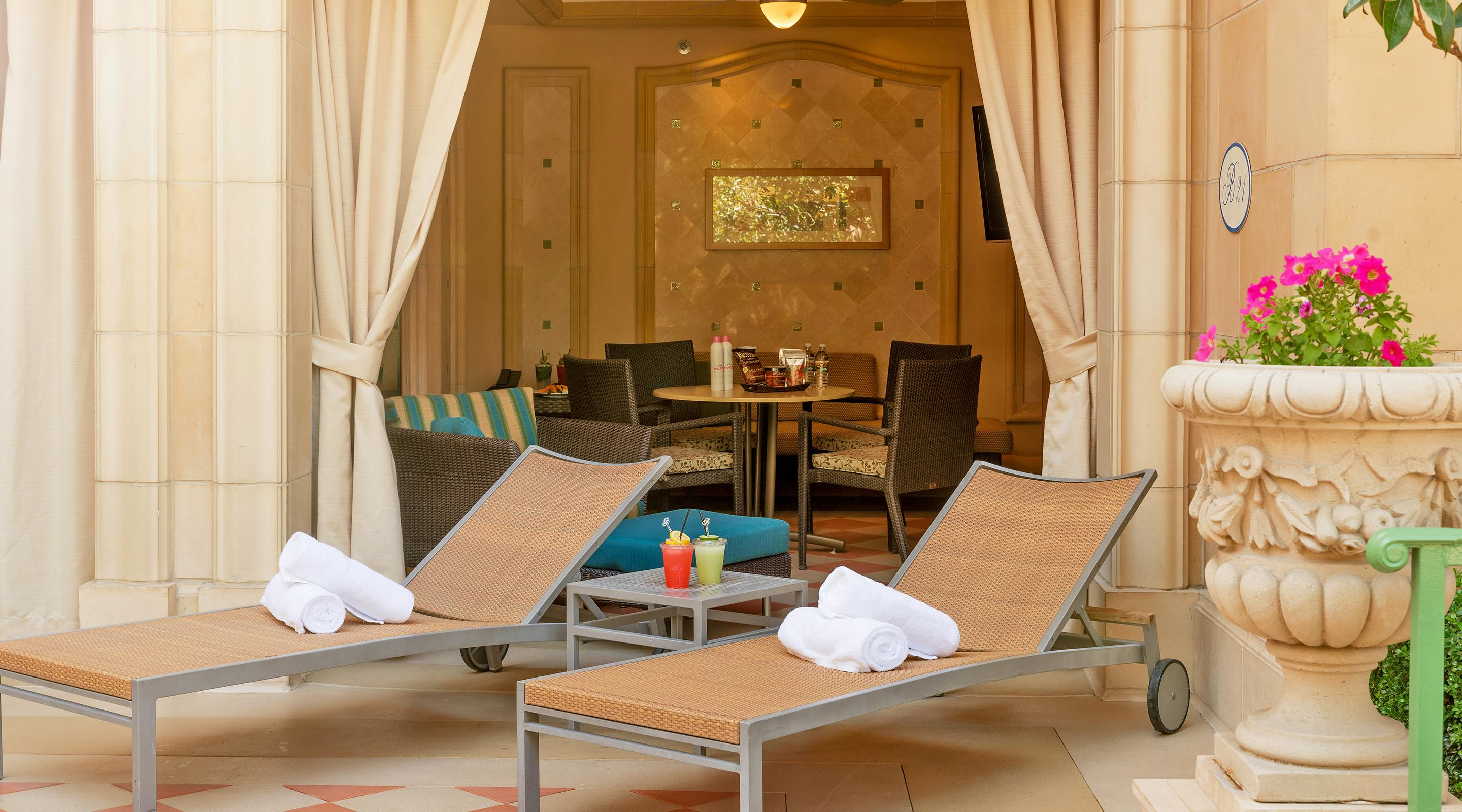 Cool off in the shade in our stunning Spa Tower Cabana.