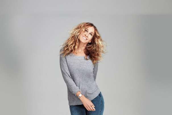 Sarah Jessica Parker in a gray t-shirt.