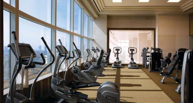 Running trails in the fitness center room.