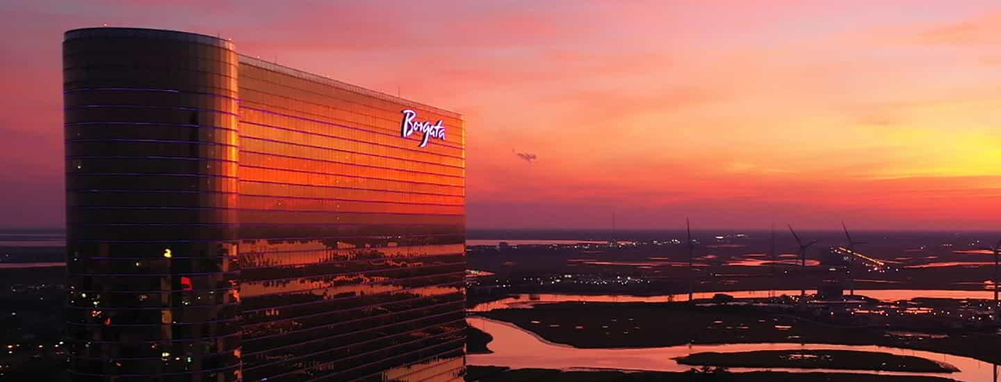 A view of the Borgata hotel tower at sunset.