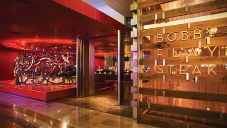 The exterior view of the entrance to Bobby Flay Steak from the casino floor.
