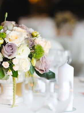 Freshly cut flowers used as a centerpiece.