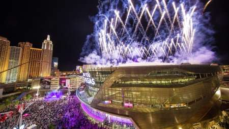 Fireworks at the Grand Opening of T-Mobile Arena.