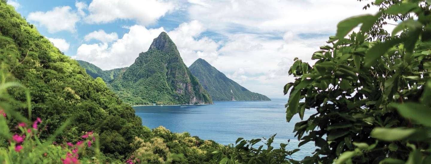 A view of the mountains and ocean from St. Lucia.