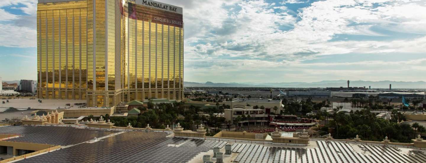 An external view of the solar panels at Mandalay Bay.