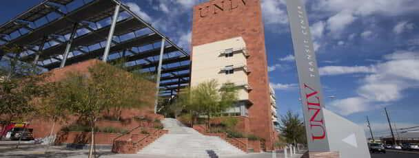 View of the UNLV Transit Center from the street corner.
