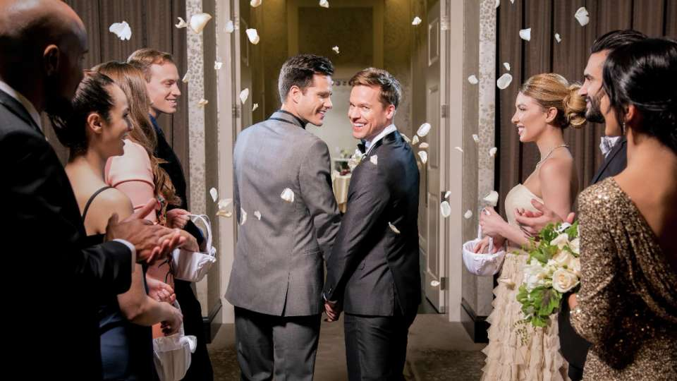 Two men in suits getting married with petals falling around them.