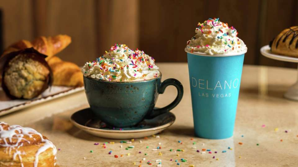 Birthday cake latte in a to go cup from 3940 at Delano Las Vegas.
