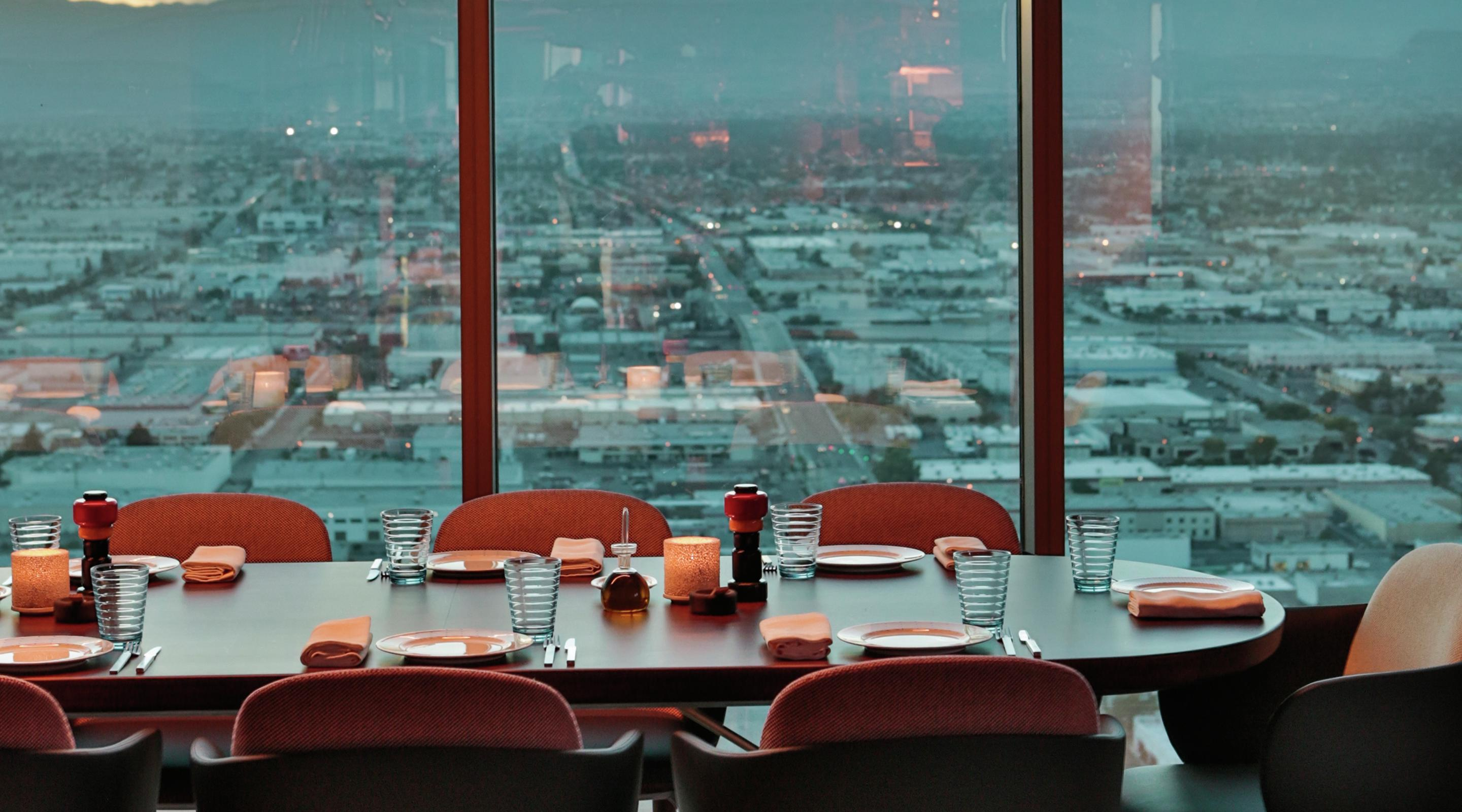 Dining table overlooking the Las Vegas Valley at Rivea by Chef Alain Ducasse