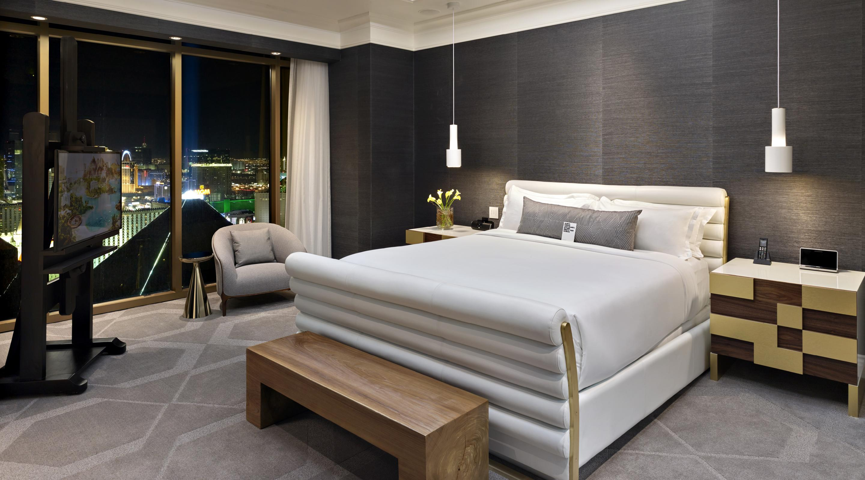 One of the luxurious bedrooms, high above it all.