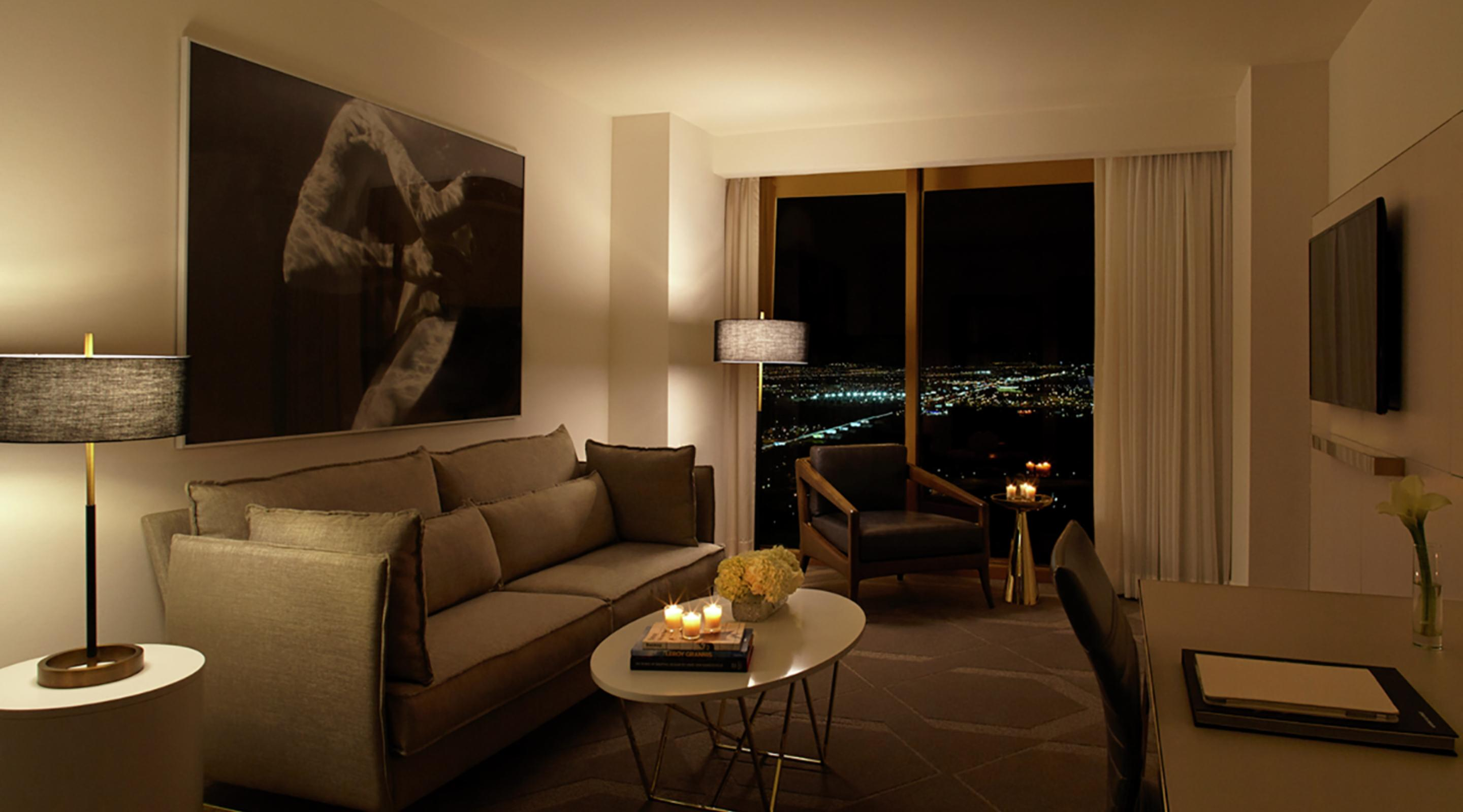 Delano suites feature a separate living room with floor to ceiling windows.