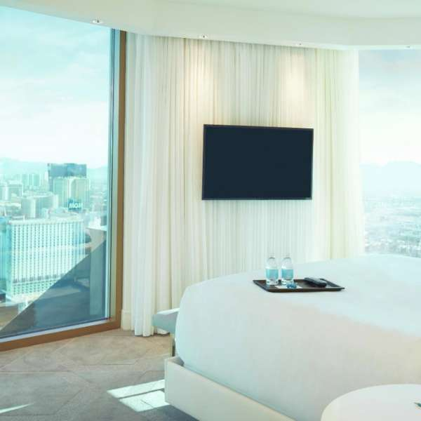 With floor to ceiling windows and a 180 degree Panoramic view , this suite brings style and sophistication to the strip