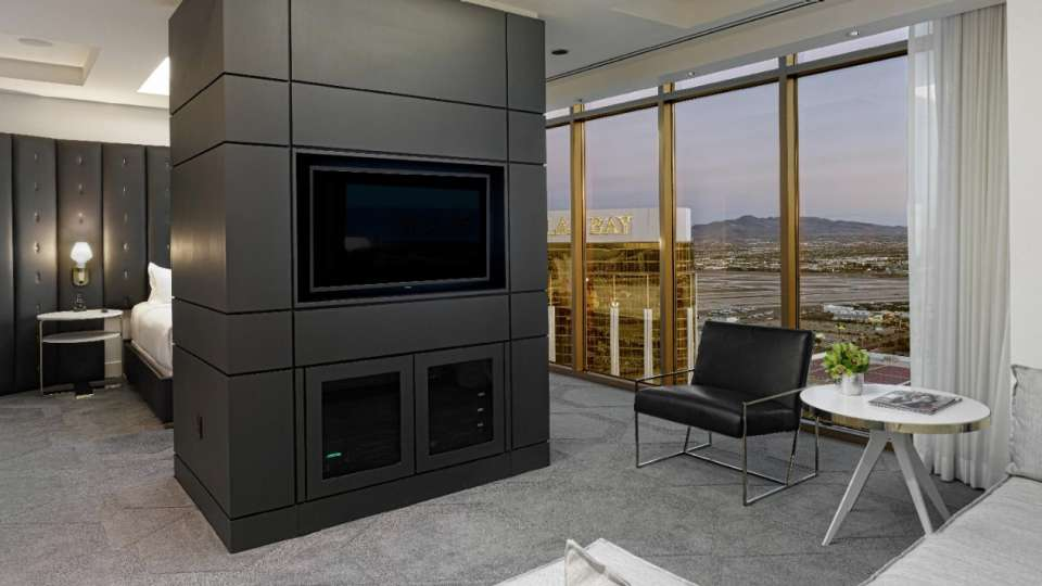 Bedroom with a view in a Delano Penthouse Superior Suite.