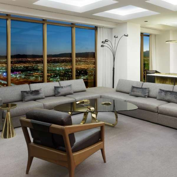 Living area of a Delano Penthouse Superior Suite.