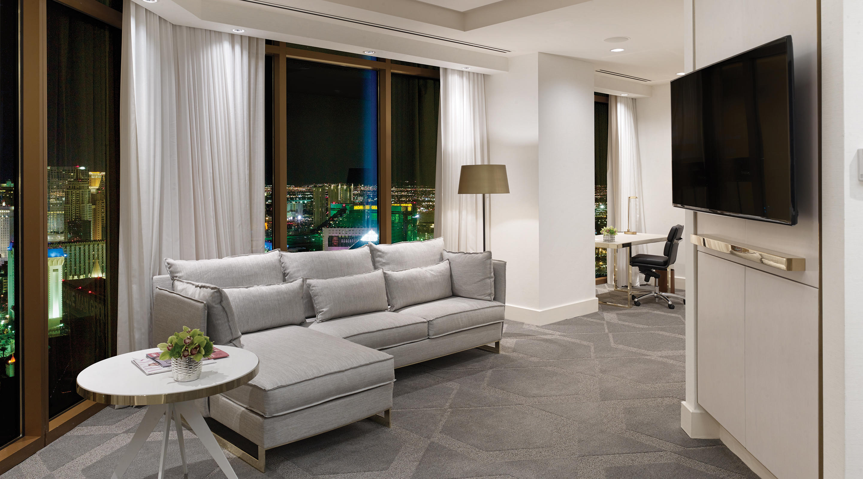 Delano Las Vegas Penthouse Panoramic View Corner Living Room