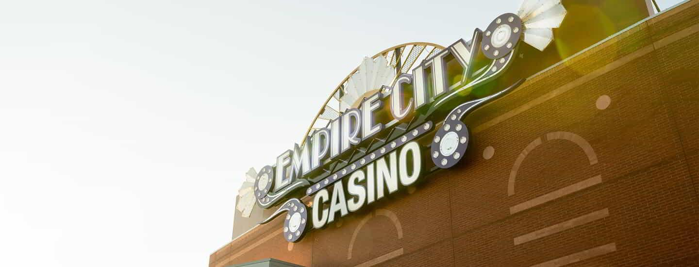 Empire City Casino Exterior Sign in the sun light.