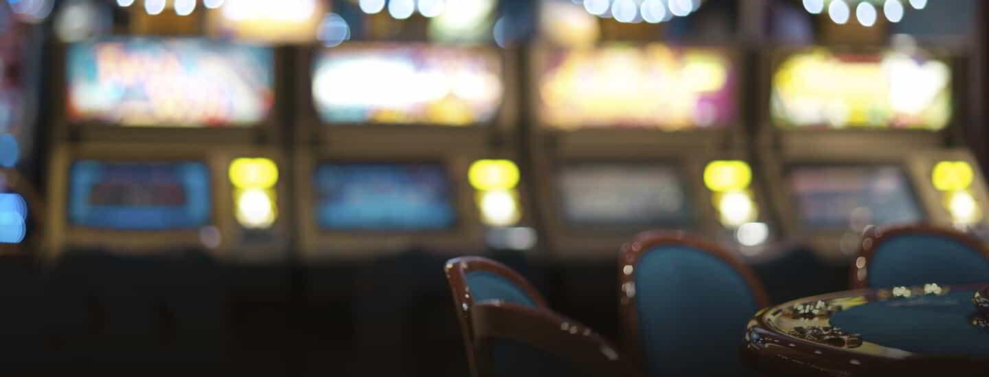 This is an image of a row of slot machines.
