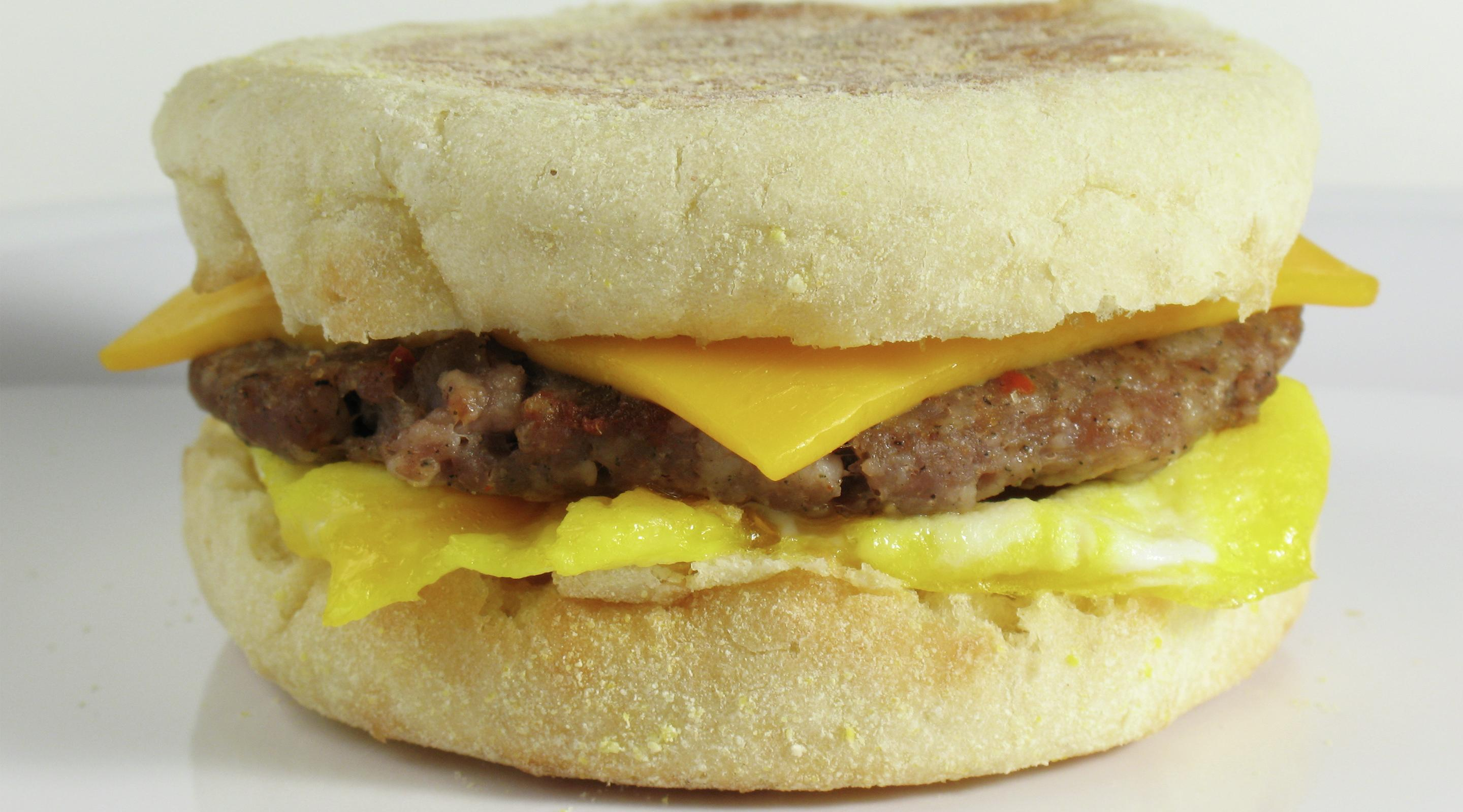 Savory Sausage, Egg and Cheese Muffin Sandwich.