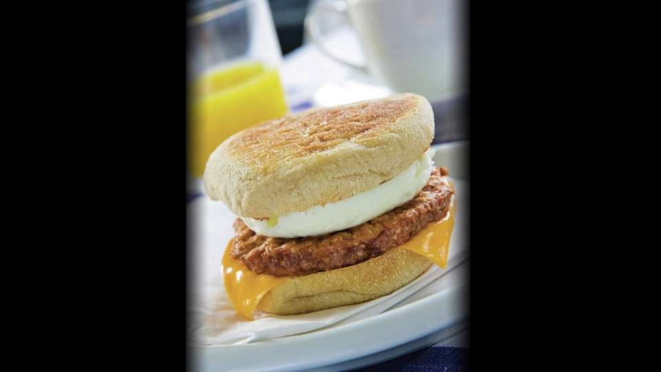Enjoy great coffee paired with a breakfast sandwich.
