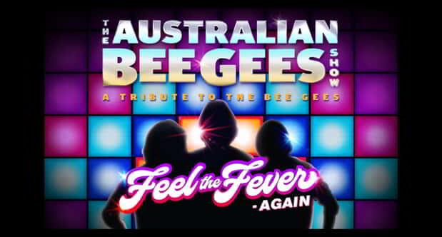 The Australian Bee Gees singer silhouette graphic surrounded by lights.