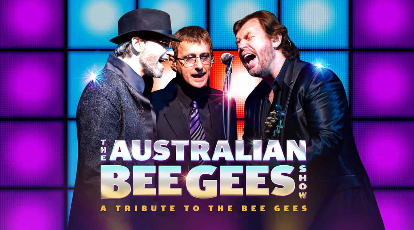 The Australian Bee Gees performers singing.