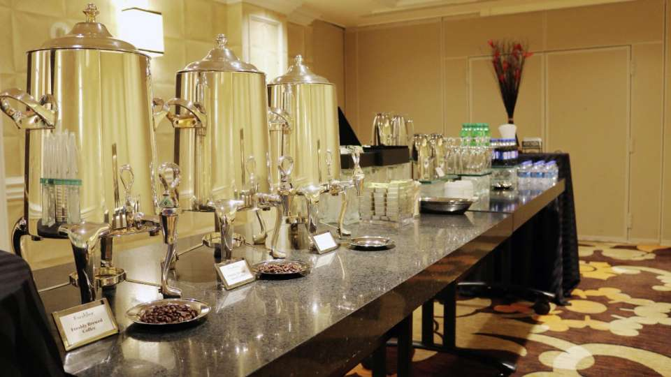 Beverage buffet set up for meetings.