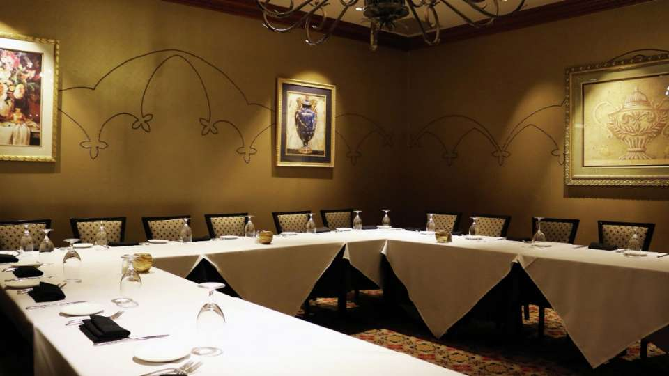 Private meeting room or dining for meetings inside Camelot.
