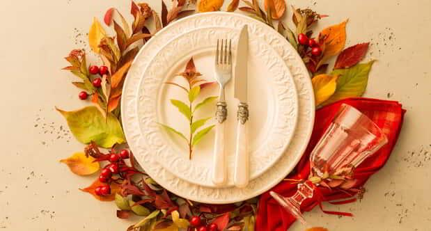 A plated setting for Thanksgiving Dinner.