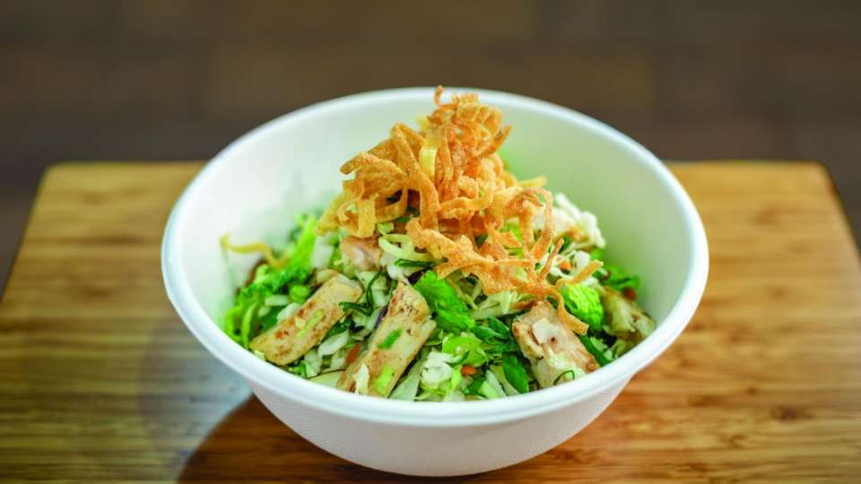 grilled chicken, romaine, cabbage, carrot, green onion, almonds, wonton hay, sesame ginger dressing