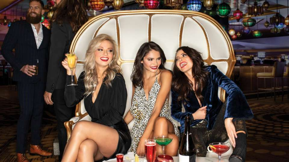 Three girls have a GNO at Centra Bar at Luxor Hotel and Casino.