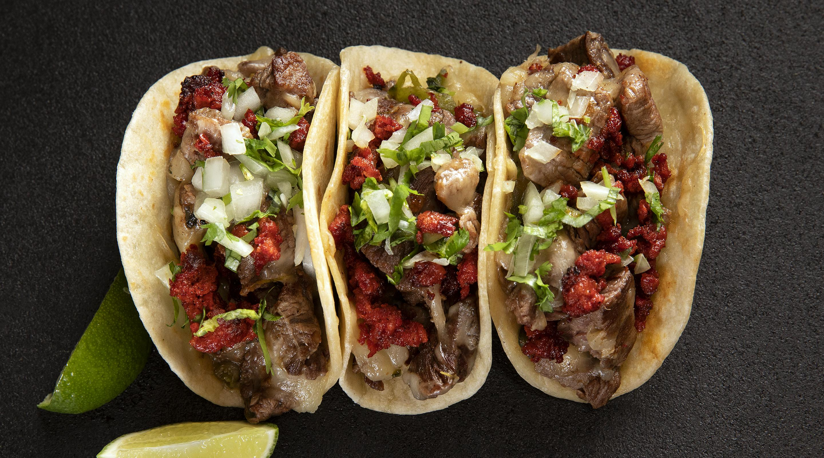 Overhead shot of Diablos Cantina Alambre tacos, the world's finest tacos.