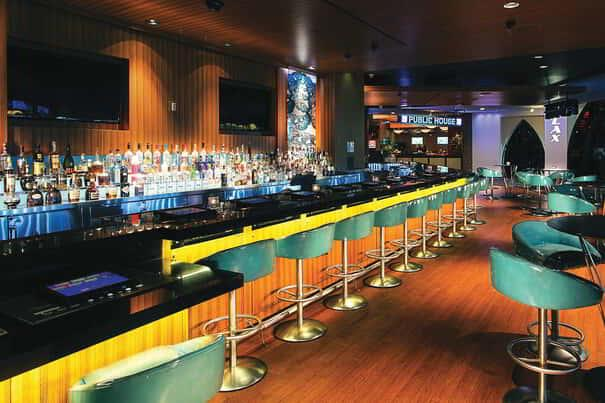 The comfortable furniture and high energy make Flight bar a great place to party.
