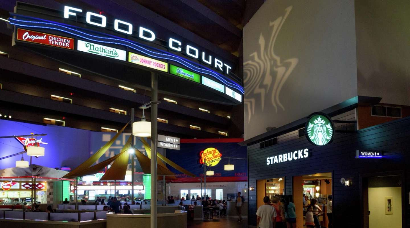 Conveniently located on the Mezzanine Level, the Luxor Food Court has the ultimate fast food on the Las Vegas Strip.