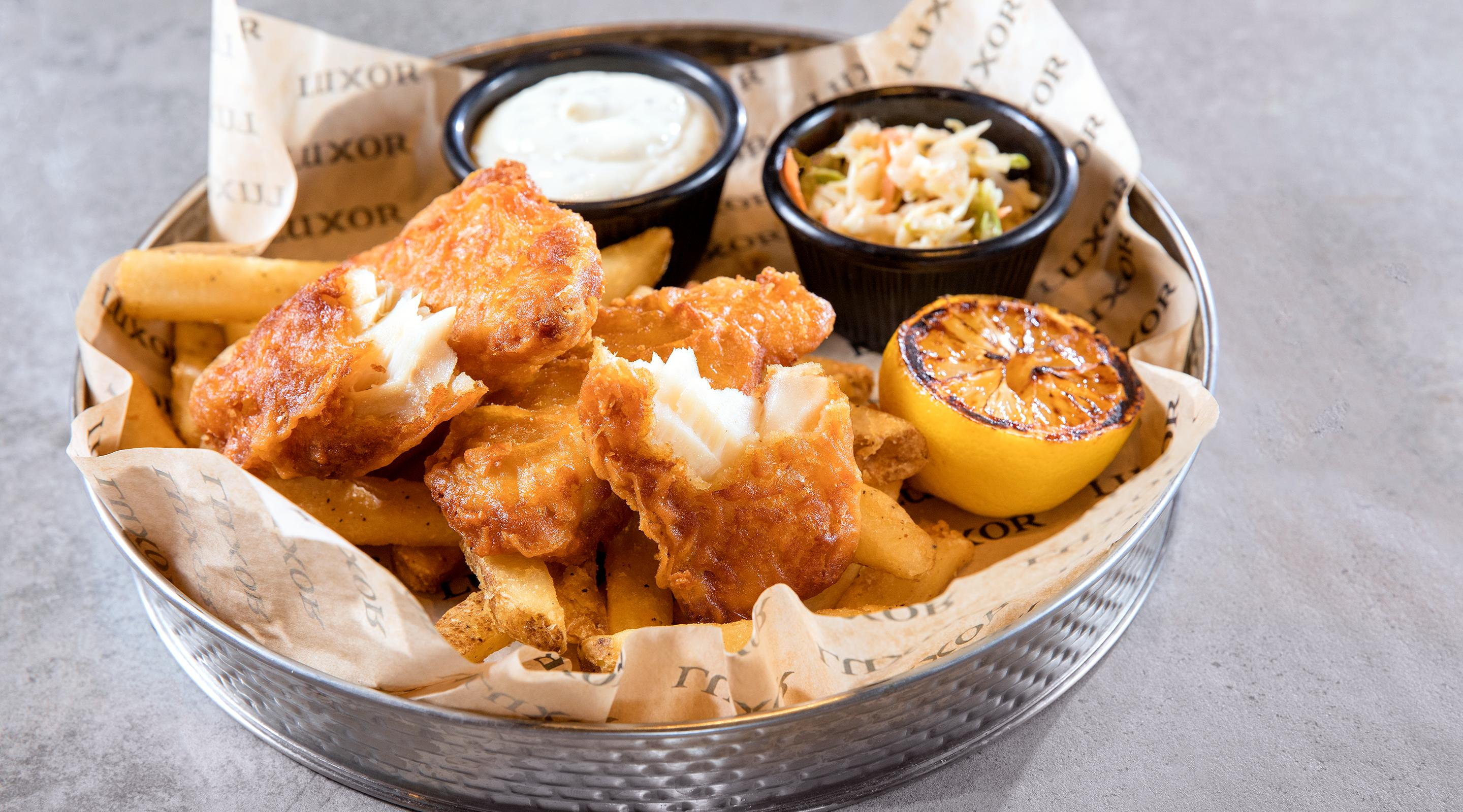 Stout beer battered white fish.