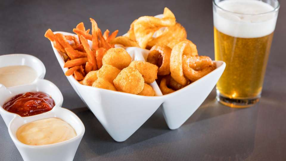 Cheesy Tater tots, Onion Rings, Sidewinder Fries, Sweet potato fries.