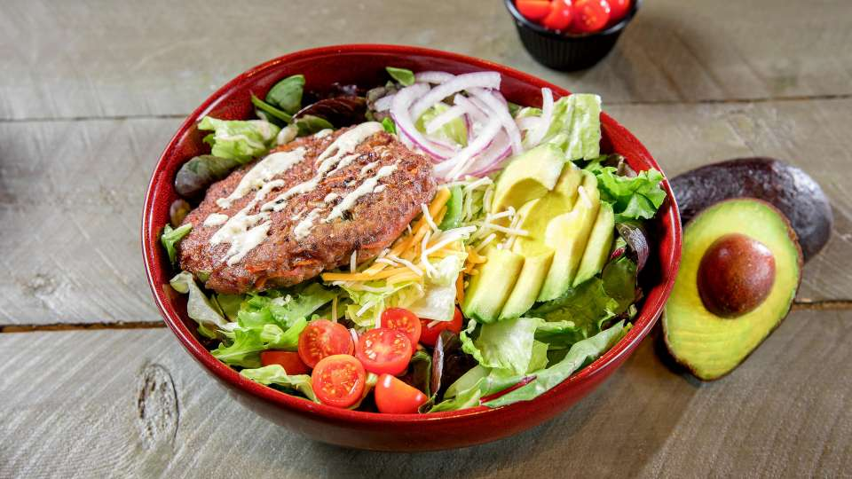 Naked Patty Salad with choice of Turkey or Beef.