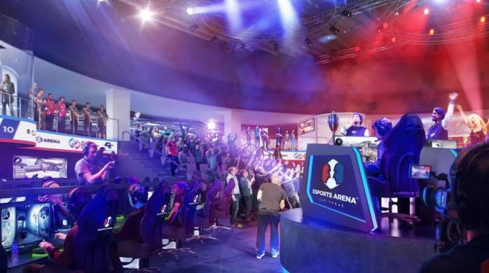 A rendering image for the new Esports Arena showcasing the audience.
