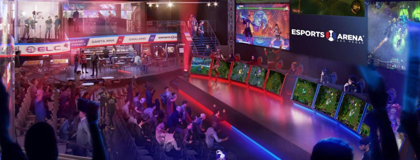 A rendering image for the new Esports Arena showcasing multiple video screens.