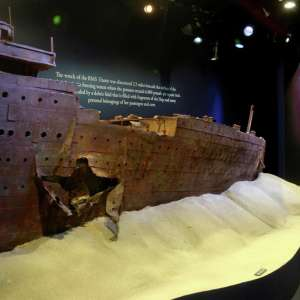 A replica of what the Titanic looked like after it hit the iceberg.
