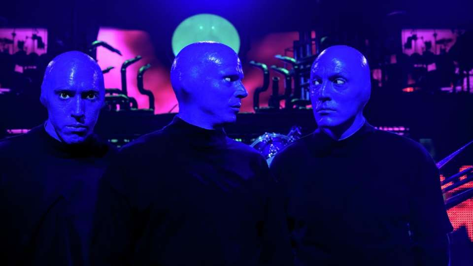 Headshot of the three members of Blue Man Group Las Vegas.