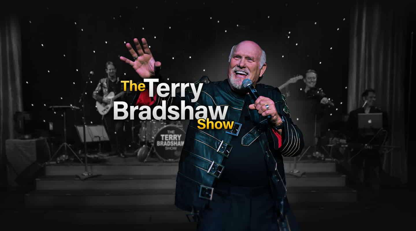 Promotional image for Terry Bradshaw Show's 2020 season at Luxor.