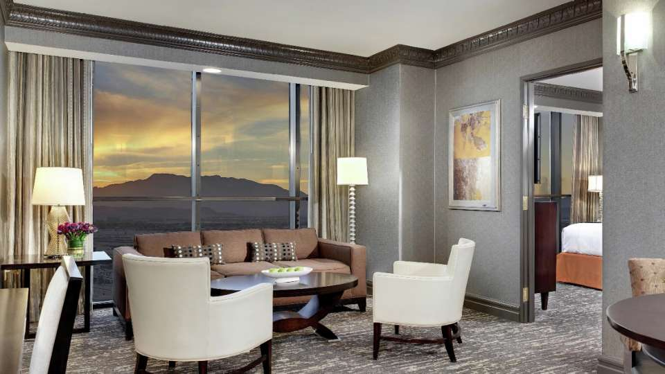 Photo of the living room in the Tower one bedroom suite.