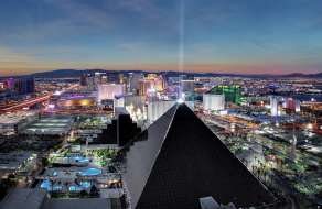 The strip view with Luxor pyramid.