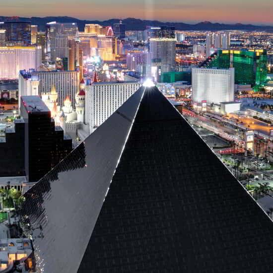 View of the Luxor Pyramid at night.