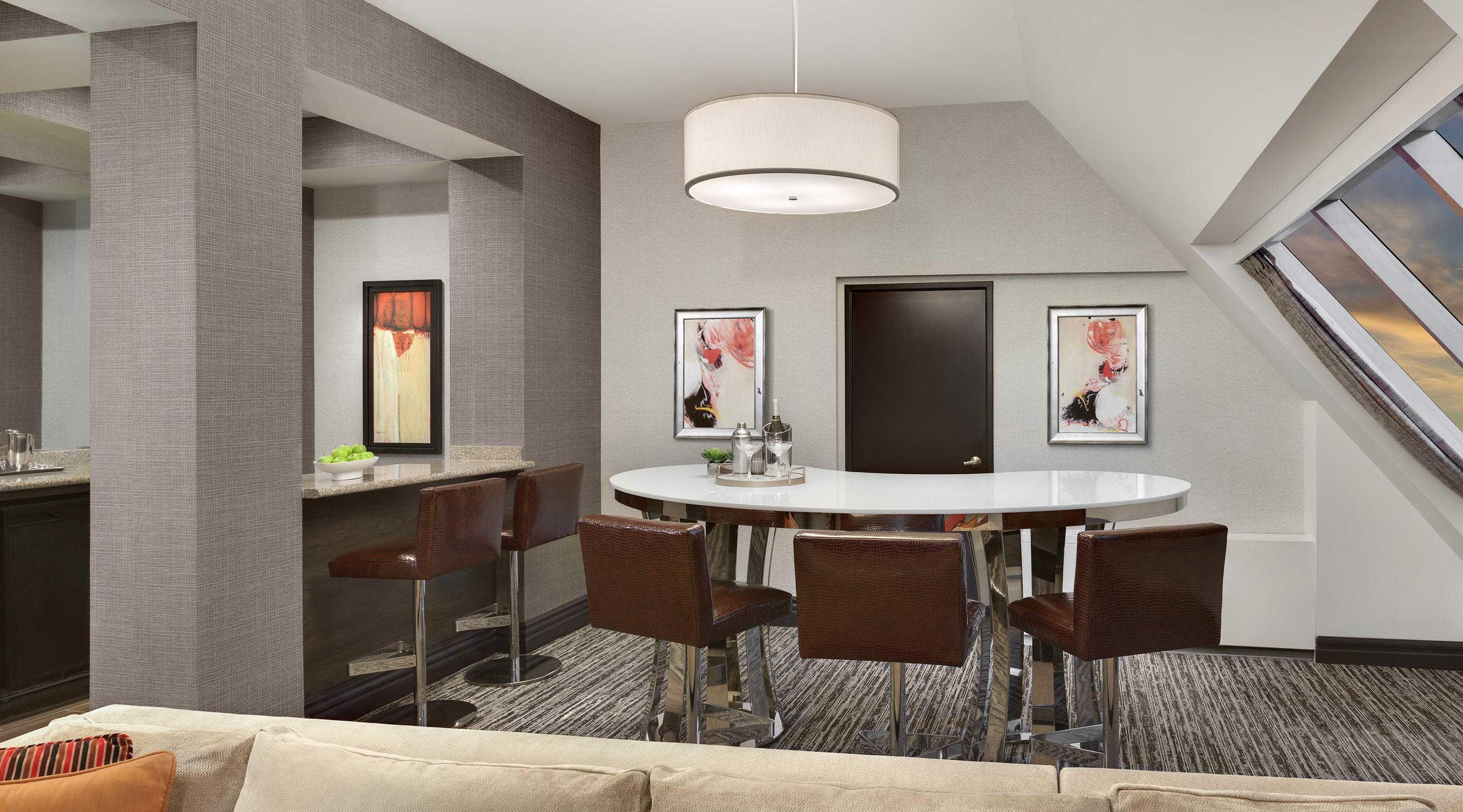 Bar and dining area in the Pyramid Premier Suite.
